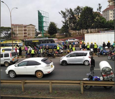 The scene of the accident on the Thika Expressway near Garden City on January 13, 2021.