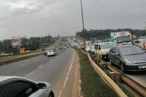 Traffic rumbles following an accident on the Thika Expressway near Garden City on January 13, 2021.
