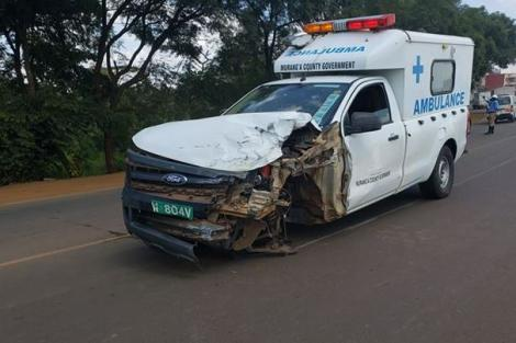 A Murang'a County ambulance involved in an accident on Wednesday, May 27 at the Thika flyover near the Ngoingwa-Murram road junction.