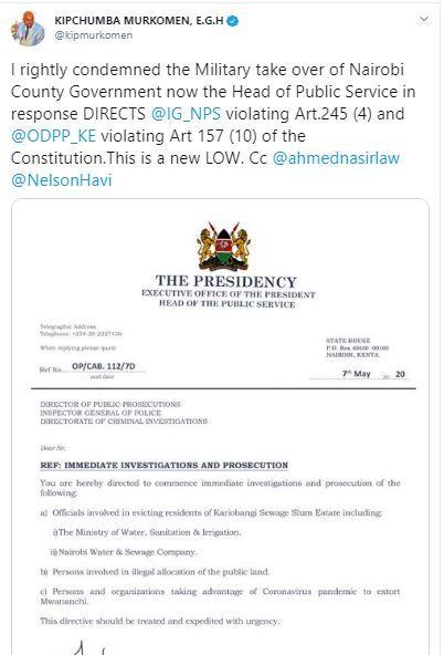 Elgeyo Marakwet Senator Kipchumba Murkomen's deleted tweet. May 7, 2020.