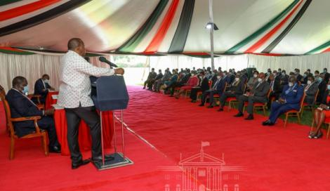 President Kenyatta meeting with Government Officers in the Senior Ranks of the Executive on February 18, 2021.