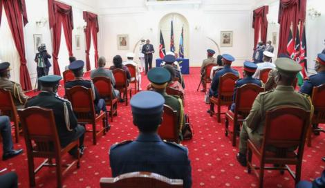 President Uhuru Kenyatta speaking at the swearing-in of General Kibicho at State House on May 11.