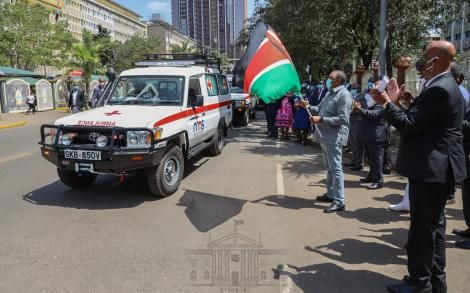 President Uhuru Kenyatta flags of Nairobi Metropolitan Services's ambulances in Nairobi's on Tuesday, June 30, 2020