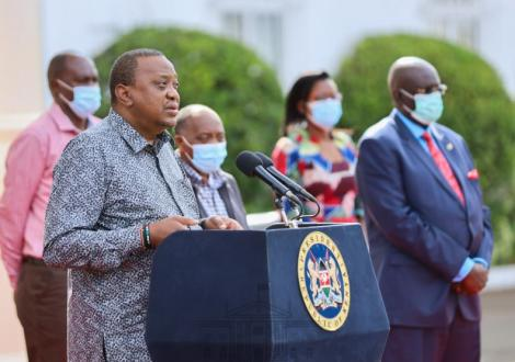 President Uhuru Kenyatta during the press briefing at State House on June 6, 2020.