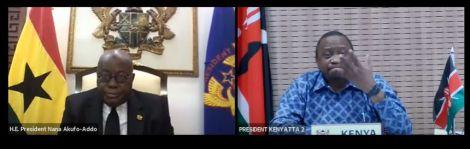 Presidnet Uhuru Kenyatta (right) gesturing during a virtual forum with Ghana President Nana Akufo-Addo on Friday, June 26.
