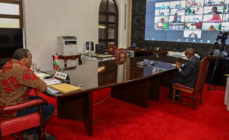 President Uhuru Kenyatta during a virtual meeting of the African Union Bureau on August 20, 2020.