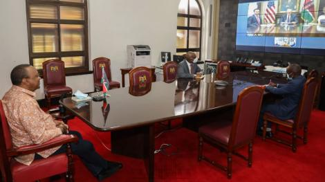 President Uhuru Kenyatta virtually following the launch of the negotiations of the FTA with the US on July 8, 2020.