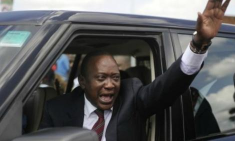 President Uhuru Kenyatta in his vehicle