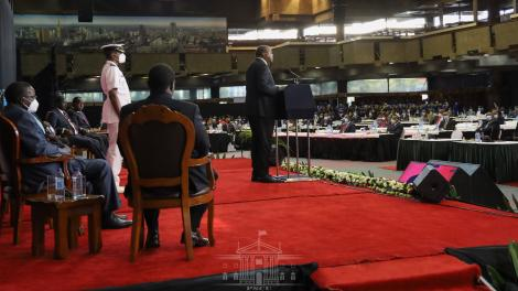 President Uhuru Kenyatta addresses the nation during the National Covid-19 Conference in Nairobi on Monday, September 28, 2020. His deputy William Ruto skipped the event.