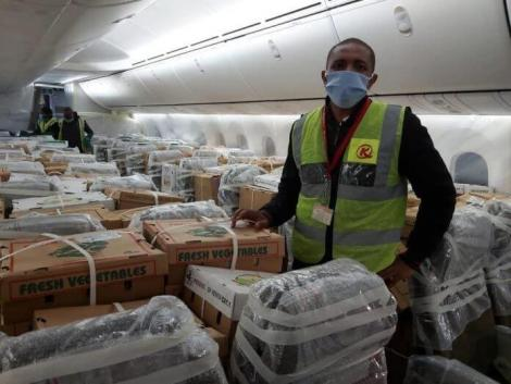 Horticultural products loaded onto a cargo plane for exports