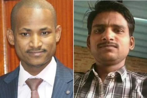 A collage of Embakasi East MP Babu Owino his lookalike