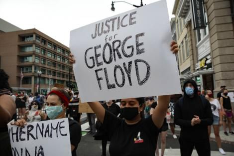 Protesters hold demonstrations in Washington DC on May 29, 2020, over the murder of George Floyd.