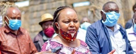 Kirinyaga Governor Anne Waiguru addresses the media after inspecting the construction of Ndaba dispensary, Kirinyaga on May 6, 2020
