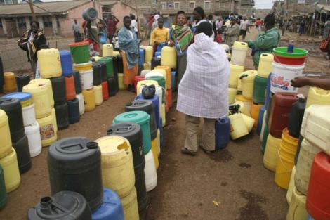 File photo of Nairobi residents queuing for water.