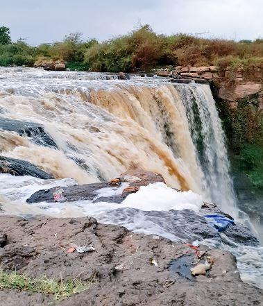 Waterfall along the Nairobi River in Kasarani region in January 2021