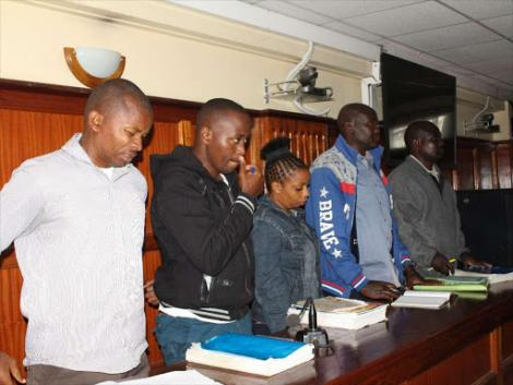Suspects in the murder of lawyer Willie Kimani, his client and a taxi driver, appear before a judge in a Milimani court.