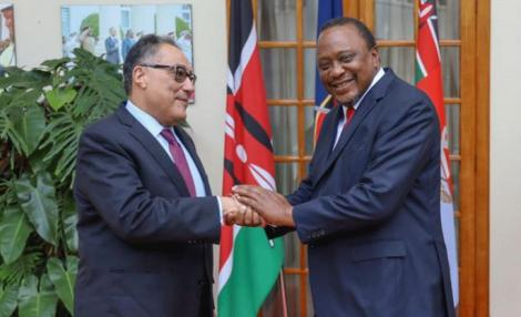 President Uhuru Kenyatta (right) with World Bank Vice President Hafez Ghanem at a meeting at State House, Nairobi