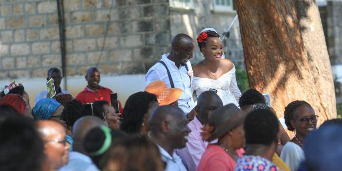Nation journalist Eunice Kilonzo and Kenya National Chamber of  Commerce and Industry (KNCCI) Nairobi director Jesse Muraya pose during  their wedding on February 22, 2020  Photo: Twitter