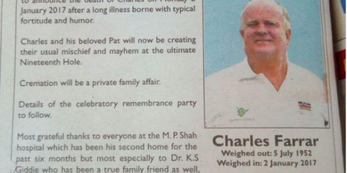obituary message of veteran golfer charles farrar gets the
