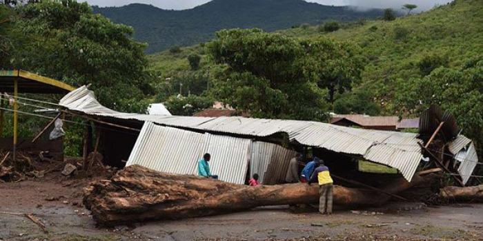 Houses destroyed by landslides at Serbit, West Pokot County, on November 23, 2019 following heavy rains.
