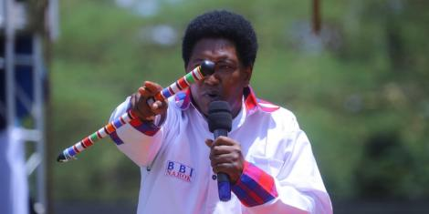 Narok Senator Ledama ole Kina speaks at Narok County's Building Bridges Initiative rally on Saturday, February 22, 2020