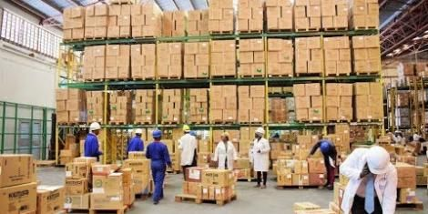 A Kemsa warehouse in Nairobi.