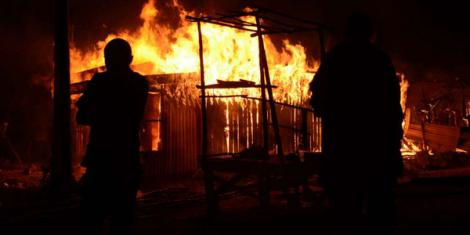 A fire at Miharati Centre in Kipipiri, Nyandarua County.