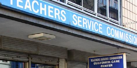 A signpost showing Teachers Service Commission mandated with hiring teachers in Kenya.
