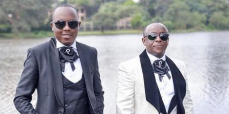 Actor Abel Mutua (left) with film director Phil Karanja in a post shared on Instagram in February 2020