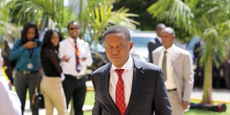 Machakos Governor Alfred Mutua arrives at the Kenya School of Government in Kiambu County for a devolution meeting on February 20, 2020
