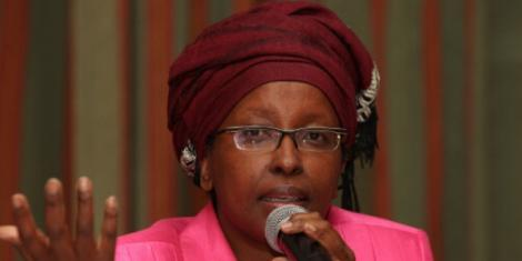 Betty Murungi, Senator James Orengo's wife addresses the media at a past summit