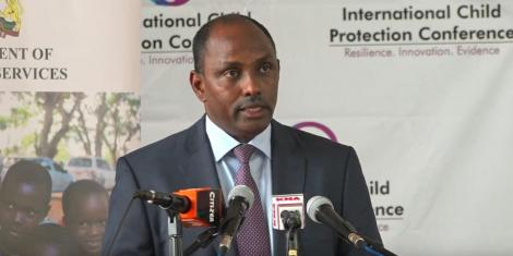 Cabinet Secretary for Treasury Ukur Yatani speaking during the Child Protection Conference in Nairobi on August 2, 2019.