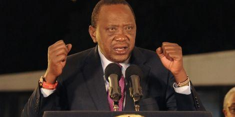 President Uhuru Kenyatta speaking at the Bomas of Kenya in 2017