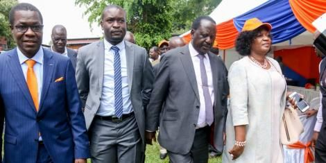 ODM Leader Raila Odinga, Secretary-General Edwin Sifuna (second left) and former Kasarani MP Elizabeth Ongoro at Chungwa House on Wednesday, March 4, 2020.