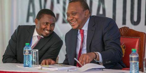 Former Agriculture CS Mwangi Kiunjuri (left) and President Uhuru Kenyatta.