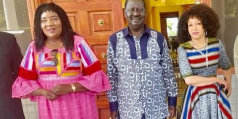 Former Prime Minister Raila Odinga (center), his wife (right) and South African Minister Lindiwe Sisulu.