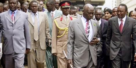 From Left, Raila Odinga, former President Daniel arap Moi and Uhuru Kenyatta pictured heading to a rally in 2002.
