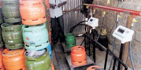 File image of a gas cylinder filling station in Kenya