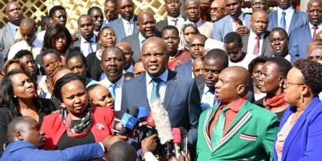 Gatundu South MP Moses Kuria speaking during a press briefing by Ruto-allied MPs on Wednesday, March 11 at parliament.