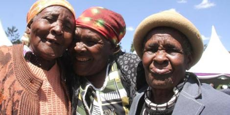 Happy faces at a party for the elderly in Othaya on December 31, 2014.