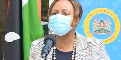 Health CAS Mercy Mwangangi addressing the media on June 22, 2020.