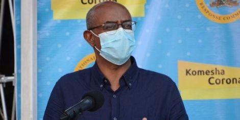 Health CAS Rashid Aman addressing the media at a press briefing.