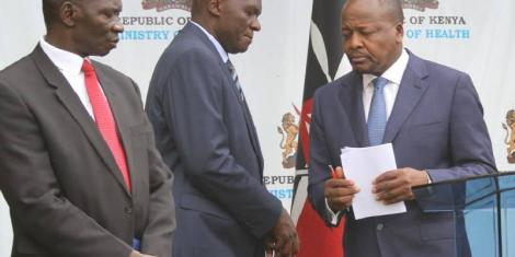 Government Spokesman Cyrus Oguna (left), Acting Ministry of Health Director-General Patrick Amoth (centre) and Health CS Mutahi Kagwe (right) during a press conference at the ministry's headquarters in Nairobi on March 30, 2020.