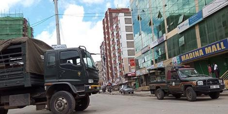 Heavy police presence in Eastleigh estate on May 7, 2020 after the government ordered a lockdown over a spike in Covid-19 cases.