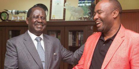 Hon Chris Omulele with former Prime Minister Raila Odinga in 2018