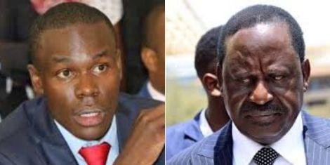 South Mugirango MP Silvanus Osoro (left) and Raila Odinga (right)