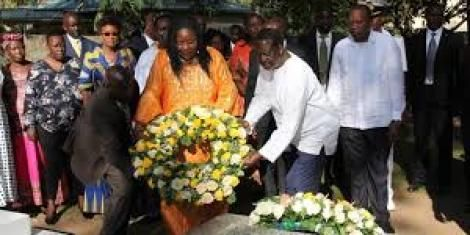 Ida Odinga and her husband Raila lay a wreath at their son's (Fidel Odinga) grave on January 4, 2019.