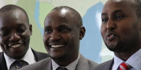 ODM MPs: From left: Simba Arati (Dagoretti North), John Mbadi (Suba East) and Junet Mohamed (Suna East)