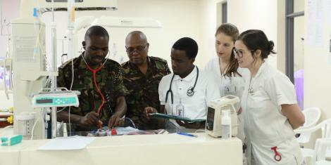Kenya Defence Forces (KDF) medics offer services at the Rwamagama Provincial Hospital in Eastern Rwanda during the 2nd EAC Defence Forces Civil Military Cooperation (CIMIC) on June 28, 2019.