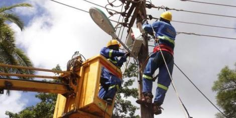 File image of Kenya Power electricians at work